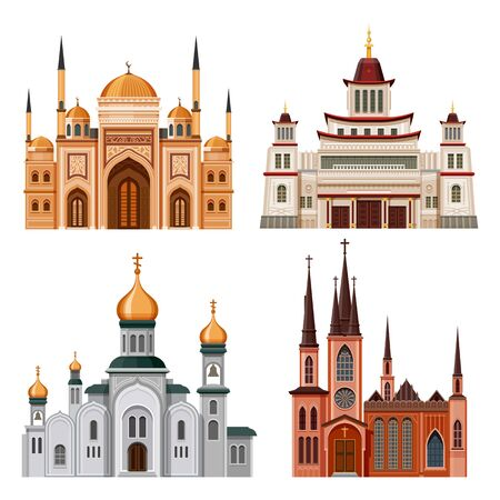 Set of church, temple, mosque and pagoda buildings