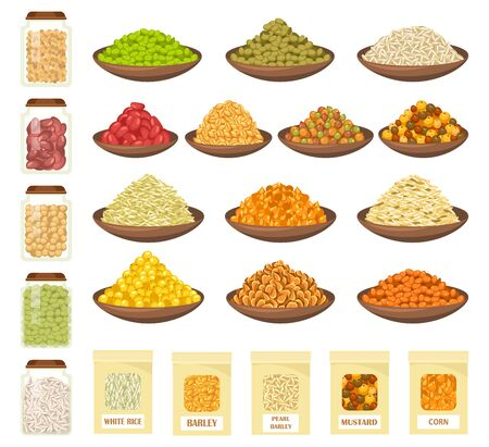 Cereals and grain in bowls, vector flat icons, superfood and cooking ingredients. Farm market cereals of barley, oat and corn seeds, millet, white rice and mustard, lentil beans and wheat oatmeal
