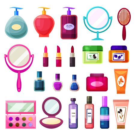 Cosmetics, beauty and woman skincare products, vector flat icons set. Beauty care cosmetics, shower gel, body lotion and scrub, hand cream and nail polish, mirror, make-up eye shadows and hair spray