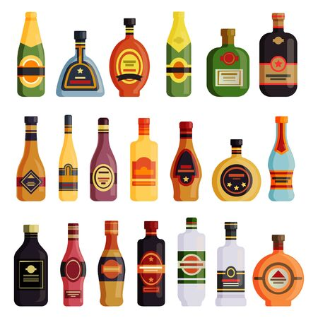 Alcohol drinks bottles vector flat simple icons. Pub and bar alcohol drink bottles of whiskey, rum and wine and scotch, tequila, vermouth and liquor, beer, champagne and port wine brand bottles