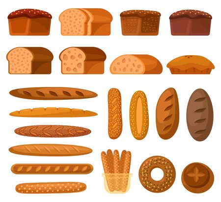 Bread flat icons, bakery shop bread types, vector collection. Wheat and rye bread loafs, toasts and bagels, and breadsticks with sesame, cereal bread baguettes and pies, pretzels and rolls