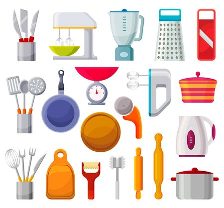 Set of kitchen appliances, cookware isolated icons
