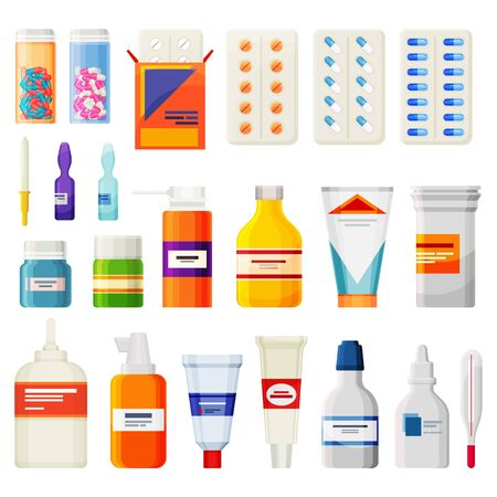 Set of pharmacy medicaments, medicine pills icons Vektorové ilustrace