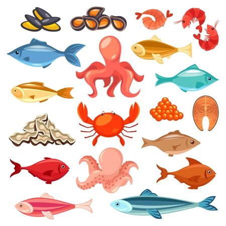 Seafood, fish delicatessen, fish market flat icons Vettoriali
