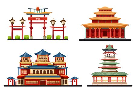 Chinese buildings, temples and pagodas, vector icons set. Traditional Chinese style roofs of Beijing city palace, entrance gates, ancient halls and Buddhist bell towers, Asian architecture design