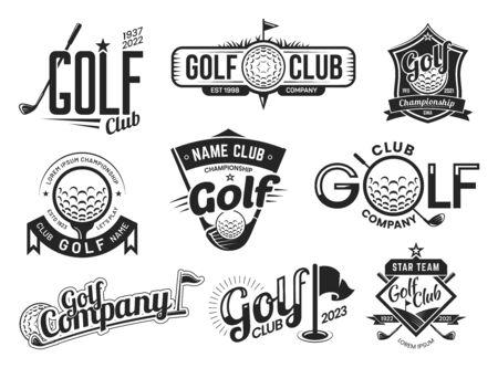 Golf sport club labels, team championship signs Vetores