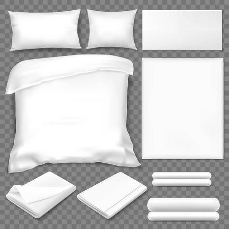 Top view of double sleeping set, white linen Vector Illustratie