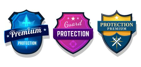 Set of shield protection, web security safety sign