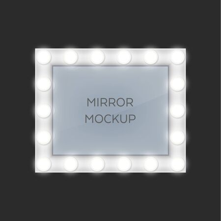 Make-up mirror with light bulbs frames. Vector isolated retro style design. Rectangular frame shape, theater and actor room makeup mirrors, realistic Vektorgrafik