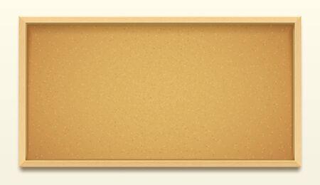 Cork board wood frame background, pin noticeboard Vector Illustration
