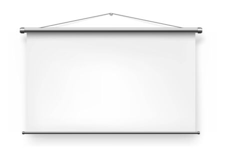 Screen projector, white blank presentation slide board, whiteboard display vector realistic isolated mockup. Portable foldable screen projector background, office presentation projection video wall