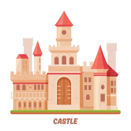 Castle fairy palace, medieval fantasy kingdom fort Ilustrace