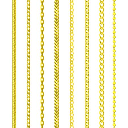 Gold chains jewelry, golden pattern border frames Ilustrace