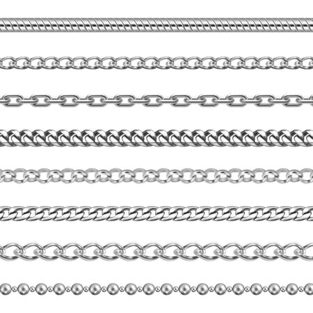 Silver chains jewelry or metal links pattern Ilustrace