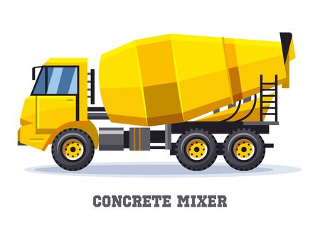Vector icon of cement truck with pump hose