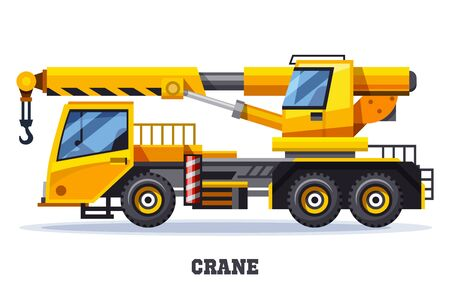 Crane truck or construction and lifting machinery Ilustrace
