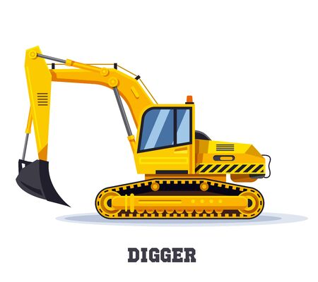 Digger excavator truck or backhoe tractor icon