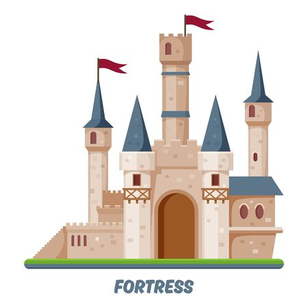 Fortress castle, kingdom fort towers fairy palace 일러스트