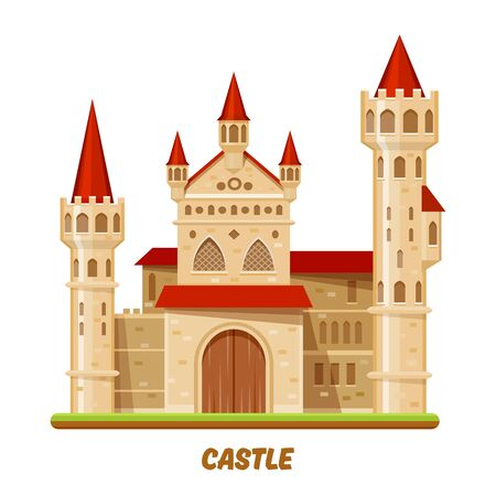 Castle, medieval royal palace with towers and red roofs, vector magic royal kingdom fortress. Medieval king or princess castle fortress with stone towers and wooden gates, cartoon flat illustration