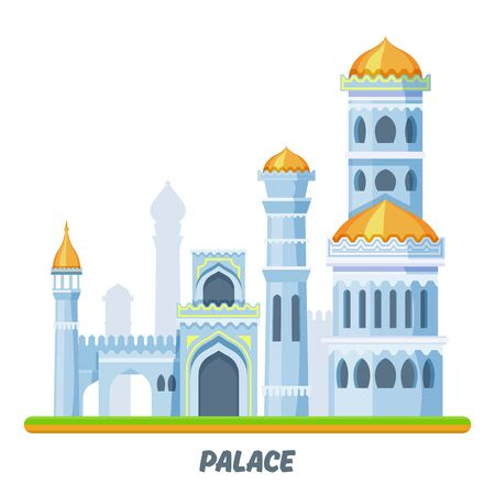 Palace castle or medieval kingdom Arabian towers Ilustrace