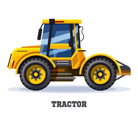 Tractor or farm truck, agriculture vector icon