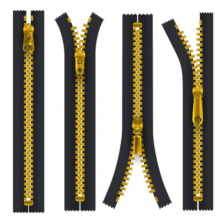 Black zipper with metallic golden teeth and hasp