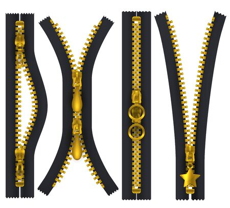 Golden zip puller hasp, open and closed. Isolated realistic apparel elements, vector shapes. Black zipper with metallic teeth and hasp, unzip lock with pull clasp, tailor accessory