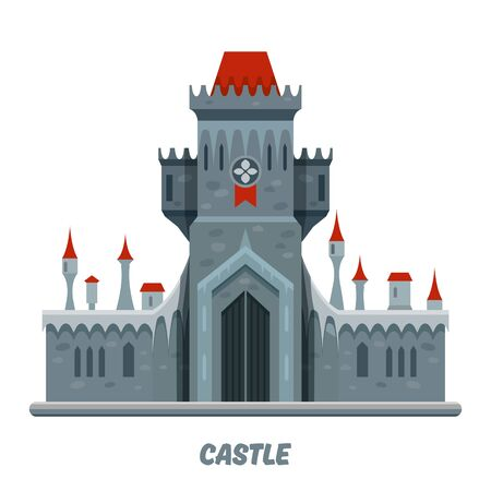 Castle fortress, medieval tower citadel and royal palace with guard towers and red roofs, vector kingdom fort. Medieval gothic castle fortress with gray stone towers, cartoon flat illustration