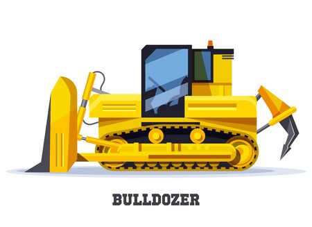 Bulldozer excavator, construction and heavy machinery vector icon. Bulldozer digger or tractor, yellow truck on caterpillar track with hoe and dump shovel, industrial mining and road building machine