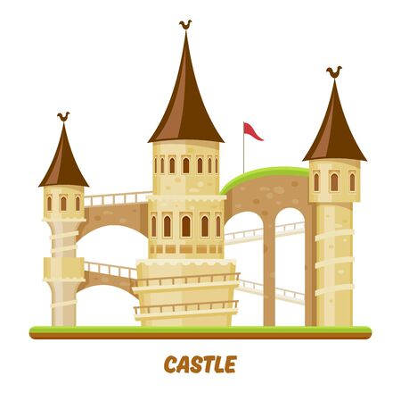 Castle, medieval palace with towers and fortress forts, vector fairy magic cartoon flat illustration. Medieval castle fortress citadel with flags on stone towers, gates, bridges and spiral stairs Ilustrace