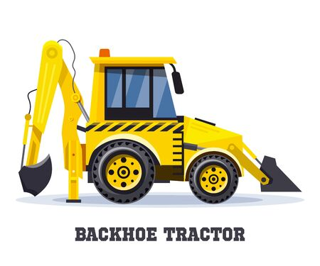 Backhoe tractor, excavator or bulldozer loader, vector icon, construction machinery vehicle. Backhoe tractor, yellow truck, industrial mining digger and road building machine with shovel scoop