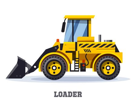 Loader truck or bulldozer excavator tractor, construction machinery vehicle, vector icon. Road loader or backhoe truck dozer with shovel scoop, heavy industry, mining and building equipment