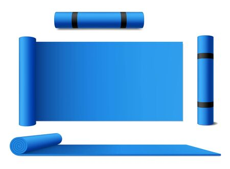 Mat yoga rolled carpet, vector blue isolated sport exercise mattress. Mat of yoga meditation, pilates and stretching training, gym and fitness accessory, blue rolled mat carpet with handle straps Ilustrace
