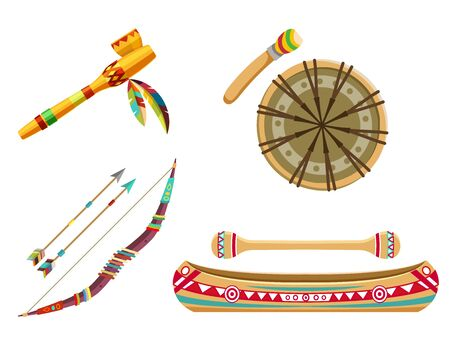 Indian tribal symbols or thematic icons set. Household items or objects. Vector icons of bow with arrows, canoe boat, ethnic drum and smoking pipe. Flat design 일러스트