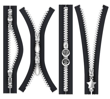Vector shapes of zippers open and closed. Silver zip puller hasp, isolated realistic apparel elements. Black zipper with metallic silver teeth and hasp, unzip lock with pull clasp, tailor accessory
