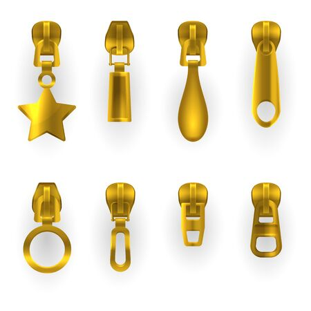 Zipper pullers icons, golden metal zip hasps of different shapes. Zipper pullers isolated, gold metal zip pull slider clasps in star, rectangular, drop and circle shape, apparel accessory