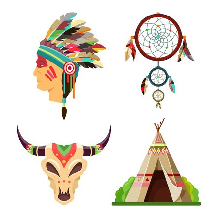 Vector tribal objects or symbols set of American Indians. Apache chief feather headdress, dream catcher, ethnic wigwam or tepee and Indian mask of bull skull icons 일러스트