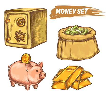 Set of money elements or symbols in line design