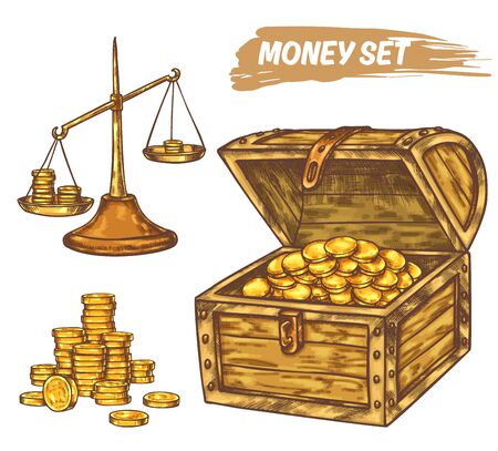 Hand drawn sketch of money or treasure Ilustrace