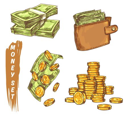 Sketch of golden coins and banknotes, wallet Ilustrace