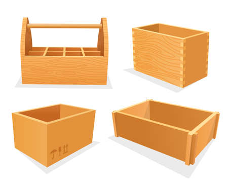 Set of wooden boxes, empty cases or toolbox Ilustração