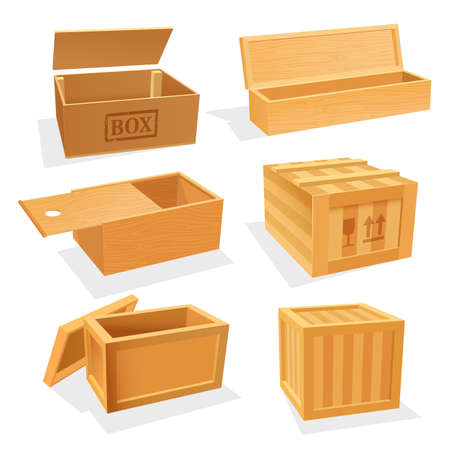 Wooden and plywood boxes or cases, set