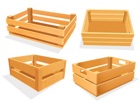 Garden wood box, empty isometric basket set