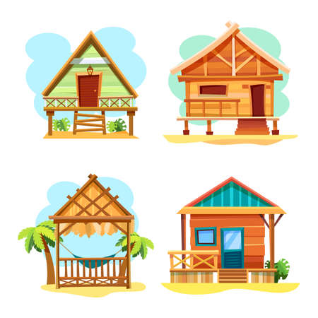 Beach hut or island resort house, bungalow Ilustrace