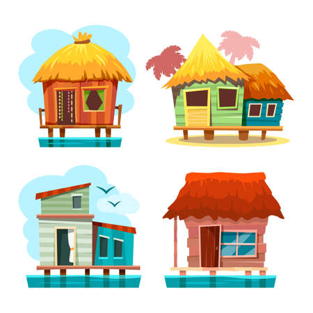 Set of bungalow house standing on water