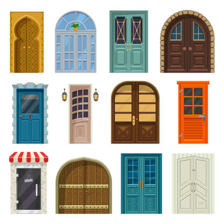 Doors, house entrances and cartoon gates fronts 일러스트