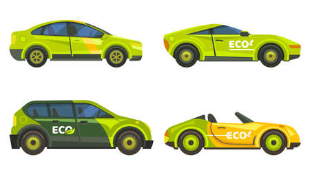Eco cars, electric vehicles icons, green transport