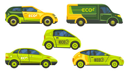 Eco friendly cars or electric vehicles icons