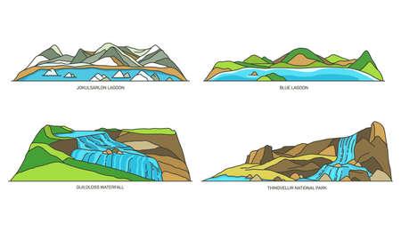 Iceland nature, natural landmarks, travel icon set