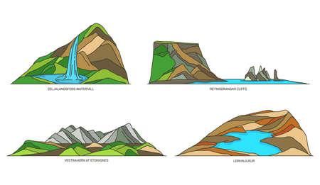 Iceland nature, landmarks and national parks set